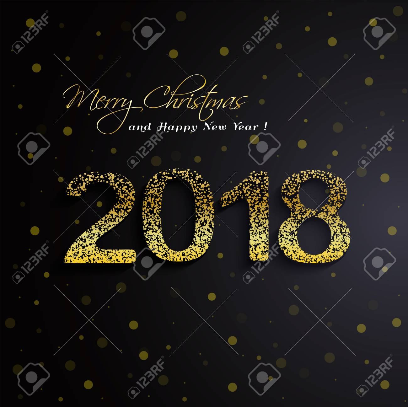 shining gold 2018 happy new year on black background useful as flyer poster