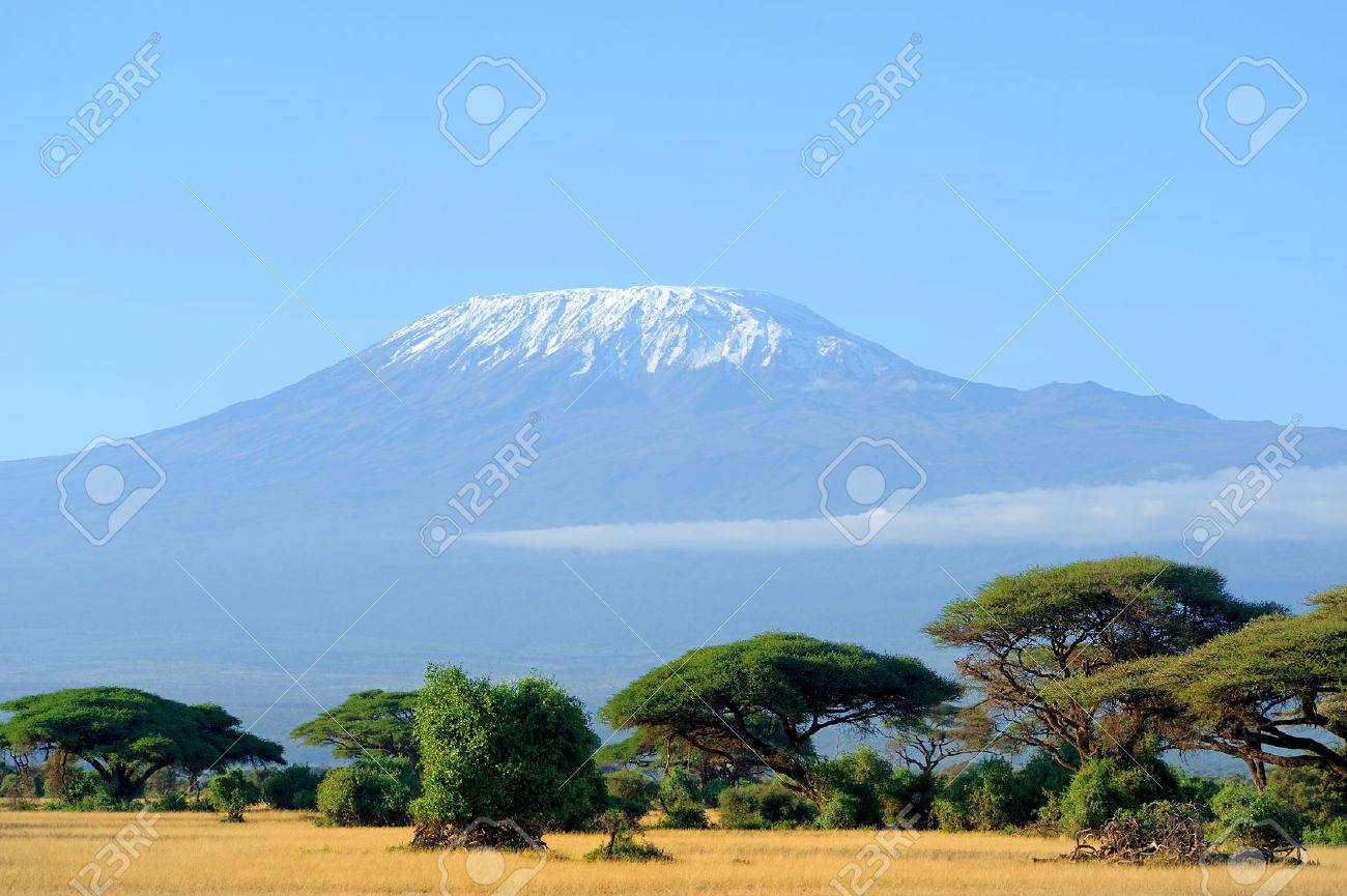 Snow on top of Mount Kilimanjaro in Amboseli Standard-Bild - 37849094