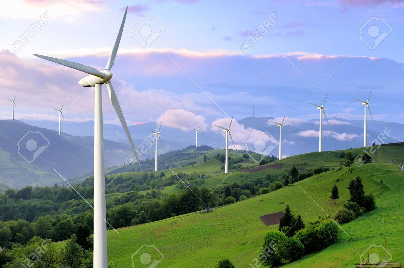Eco power. Wind turbines generating electricity Standard-Bild - 42699370