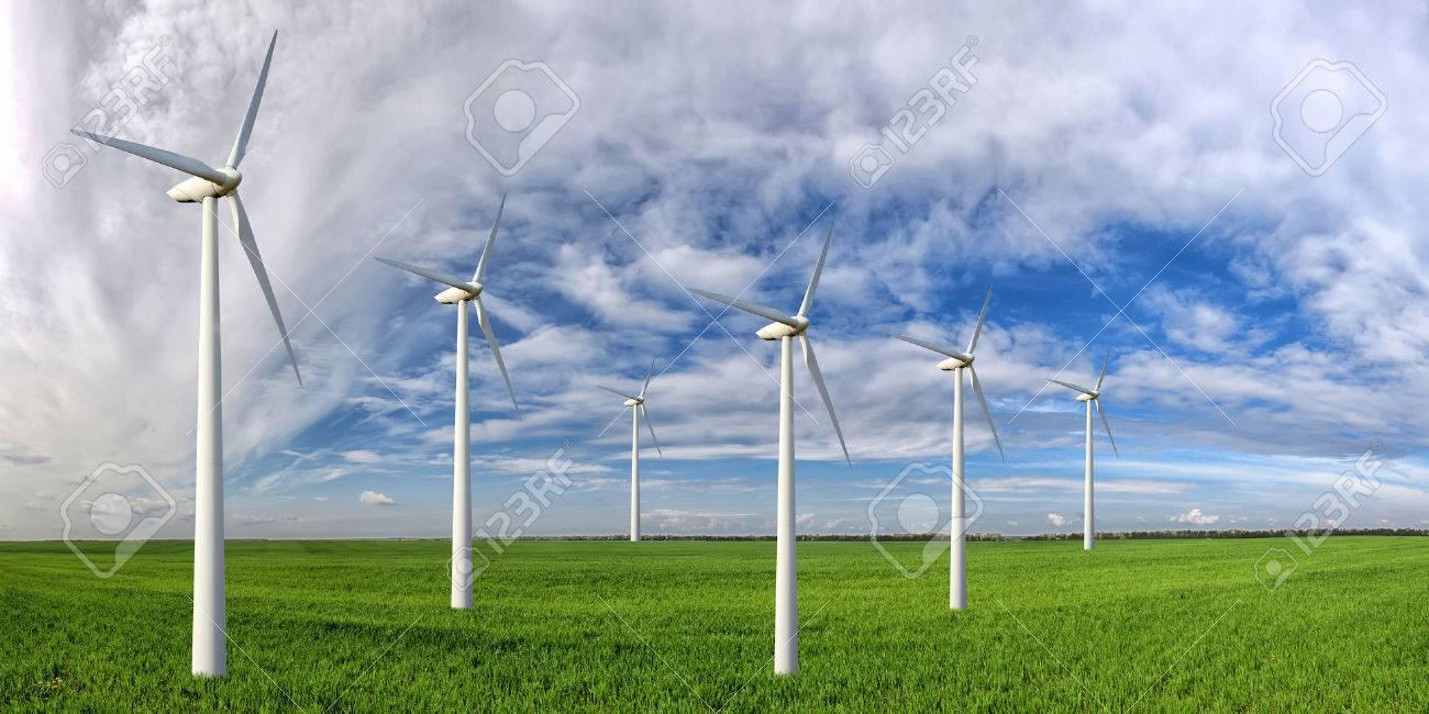 Eco power. Wind turbines generating electricity Standard-Bild - 42699281
