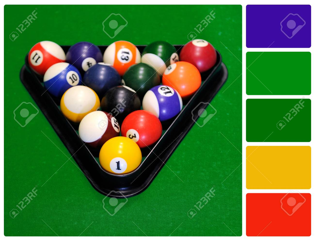 balls billiard points table of on pool a blue different photo stock view