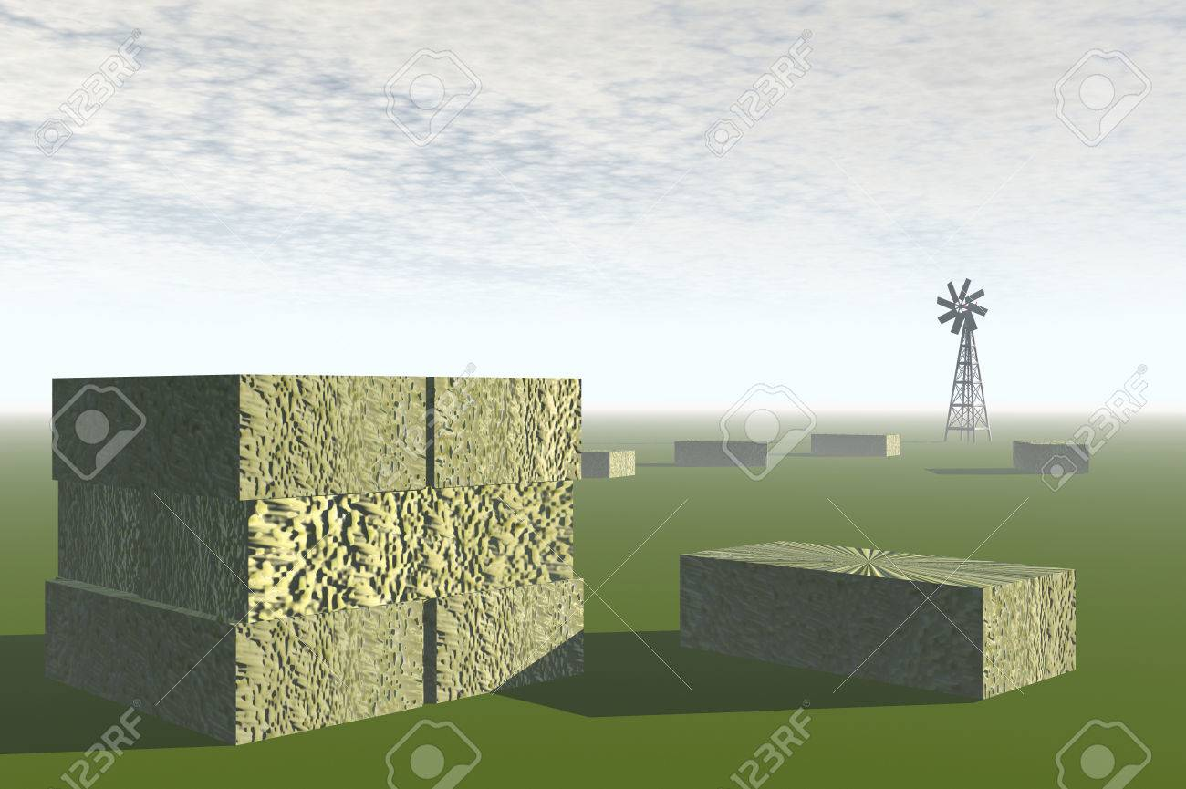 3D render of agricultural landscape of hay bales in a field Stock Photo - 1716167