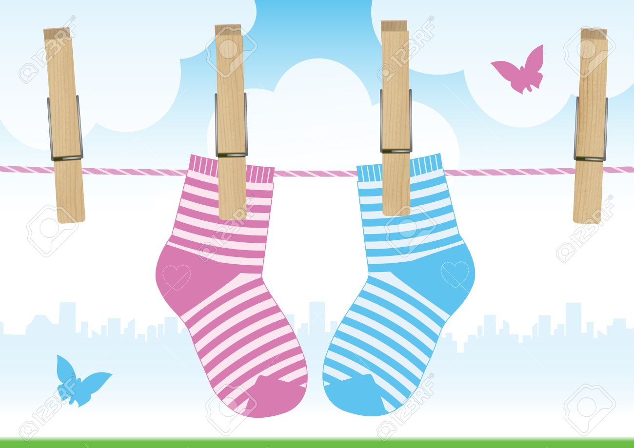 illustration of a clothesline with clothes pins and baby socks. - 8065499