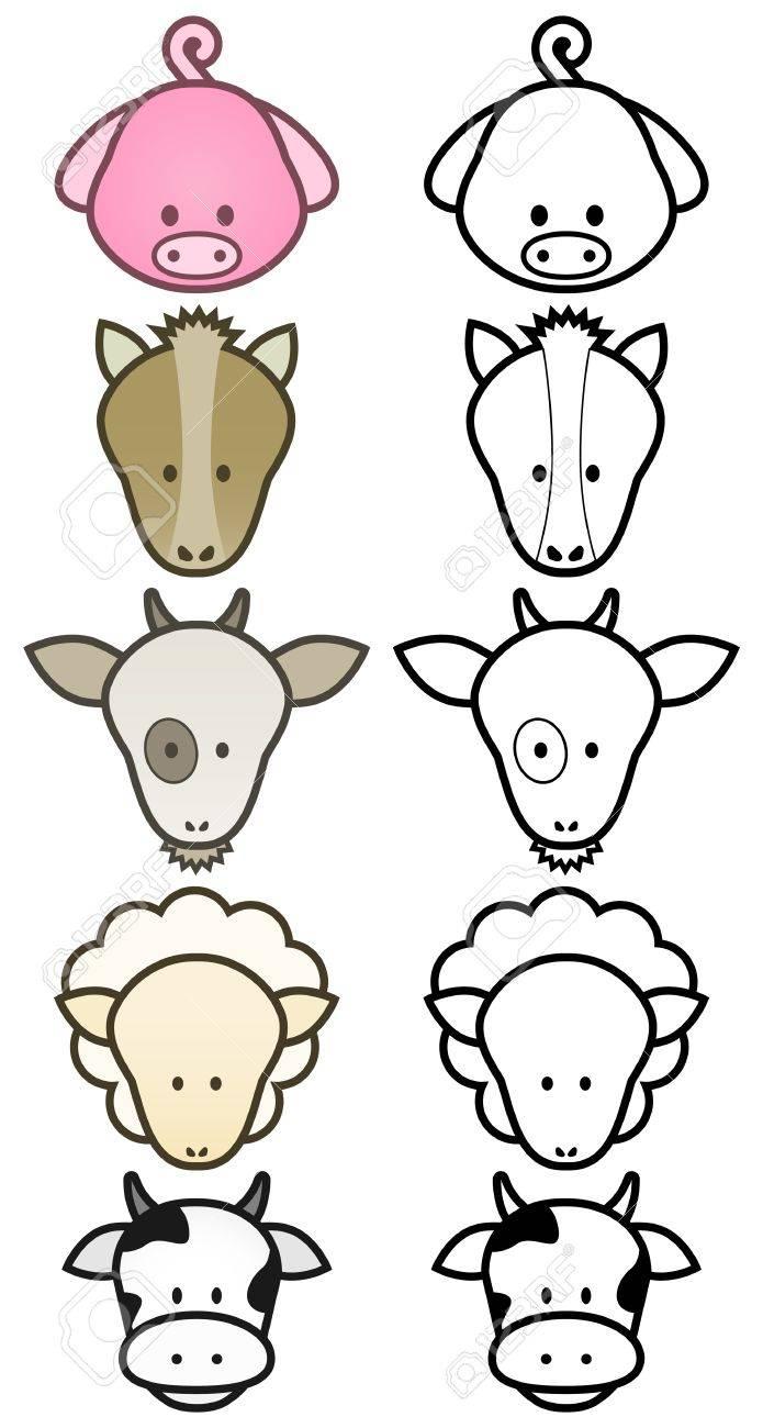 illustration set of cartoon farm animals. Stock Vector - 8132845
