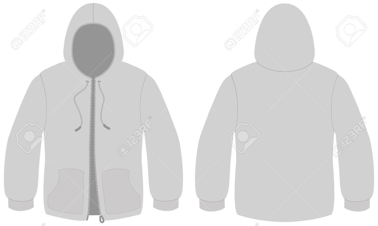 Kapuzen Sweater Mit Reißverschluss Vorlage Illustration. Lizenzfrei ...