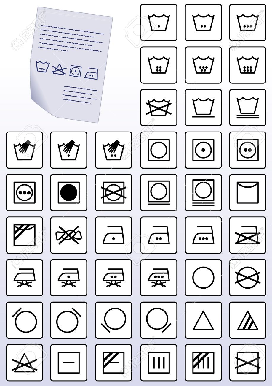 Illustration Set Of Clothing Wash Care Instruction Symbols Royalty