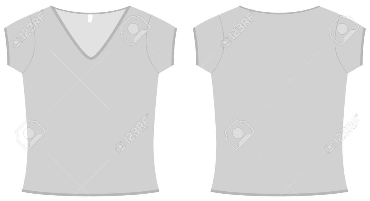 Ladies V-neck T-shirt Template Illustration. Royalty Free Cliparts ...