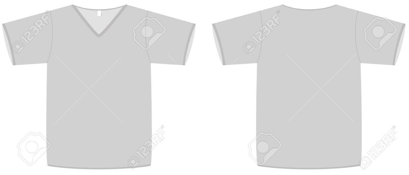 Template Illustration Of A Blank T-shirt With V-neck. Royalty Free ...