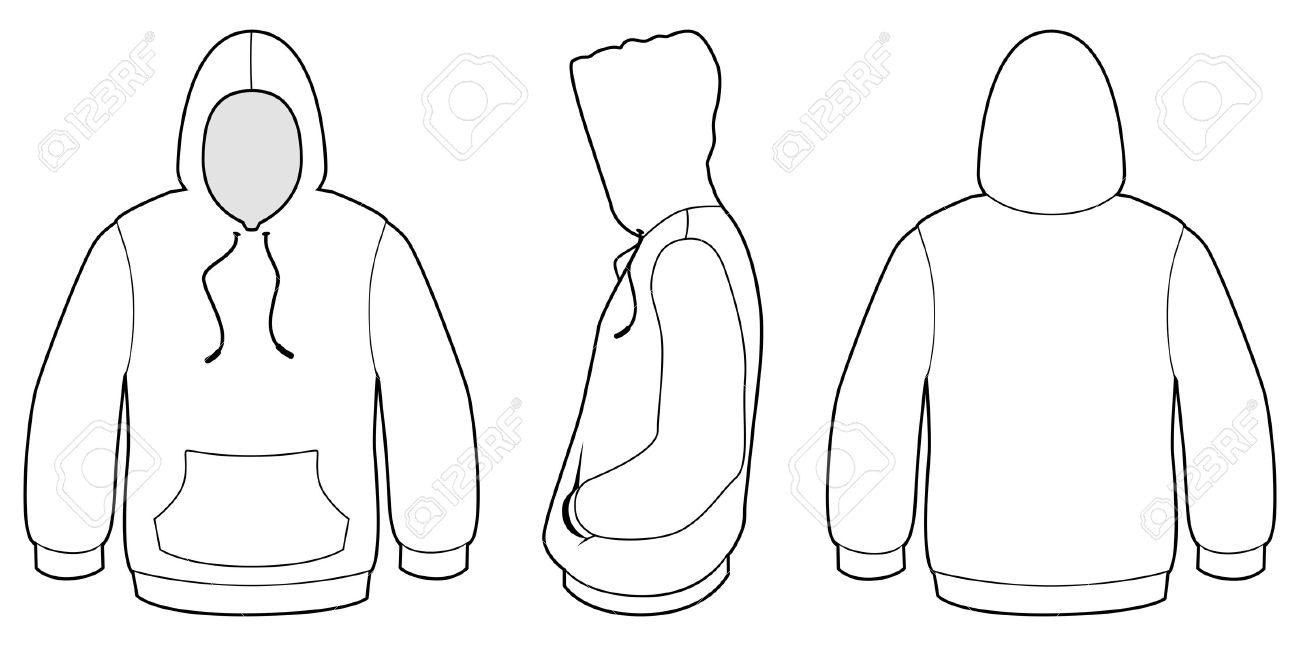 Template Illustration Of A Blank Hooded Sweater. Royalty Free ...