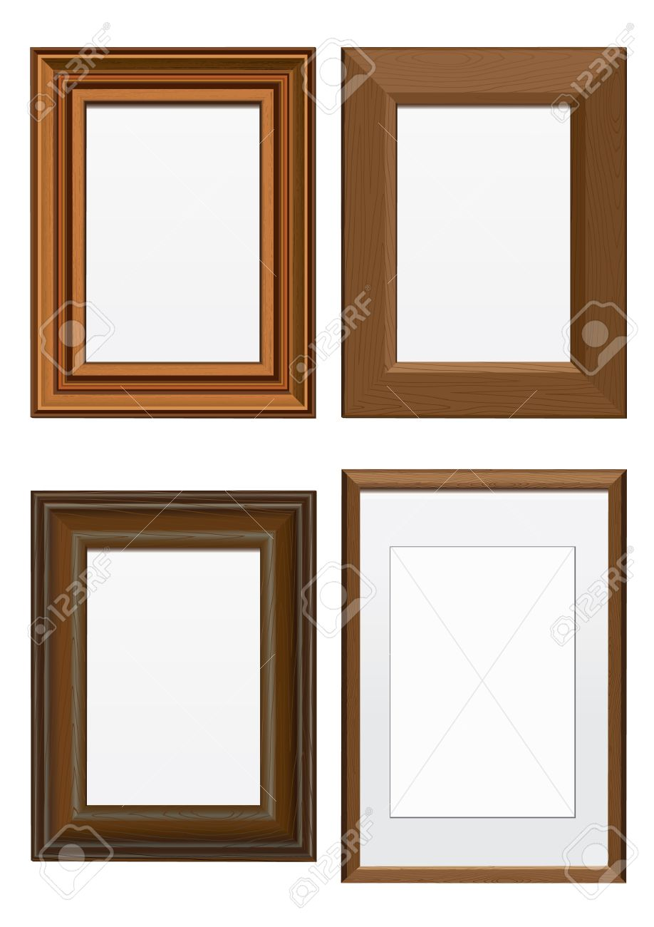 Wood frames set free vector - Wooden Frame Vector Illustration Set Of Frames With Wood Texture All Vector Objects Are