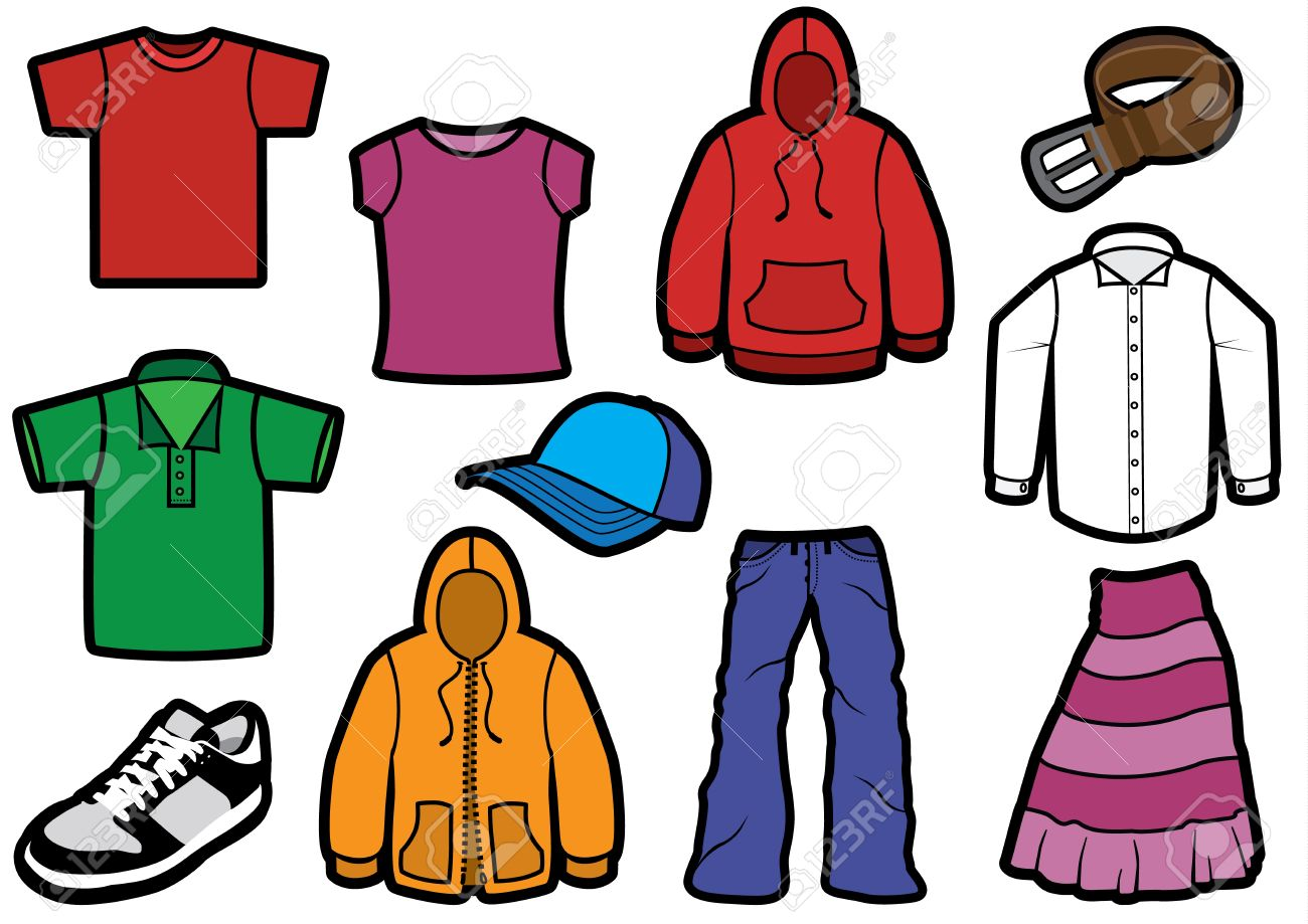 Clothing symbol set with bold outlines. - 10698581