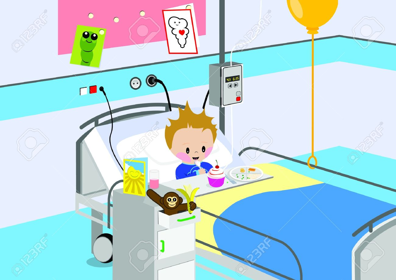 Child Eating A Meal In Hospital Bed Royalty Free Cliparts Vectors