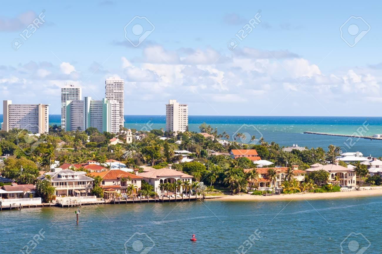 View of Atlantic intracoastal waterway and ocean at beach Florida,