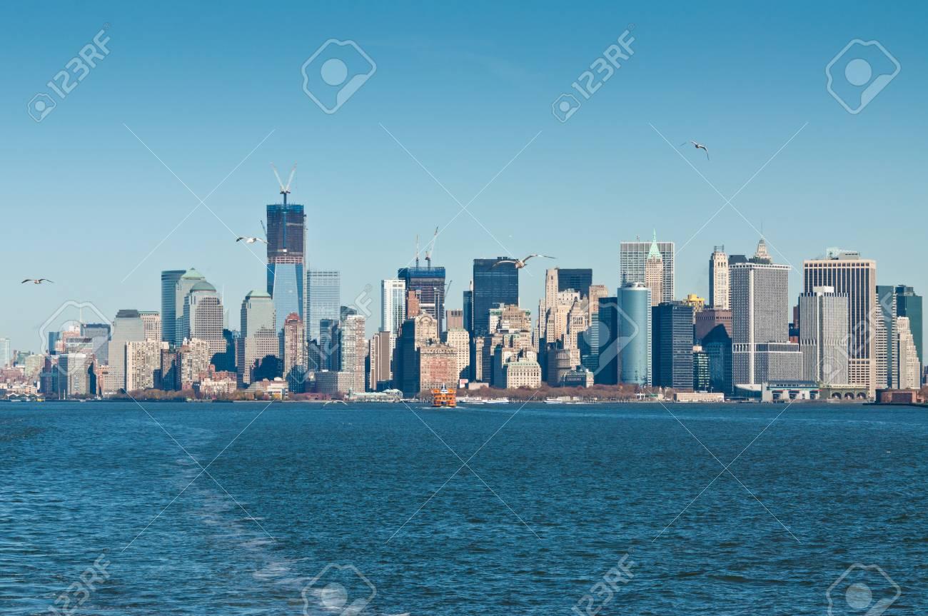 Vista panoramica della skyline di manhattan a new york city il