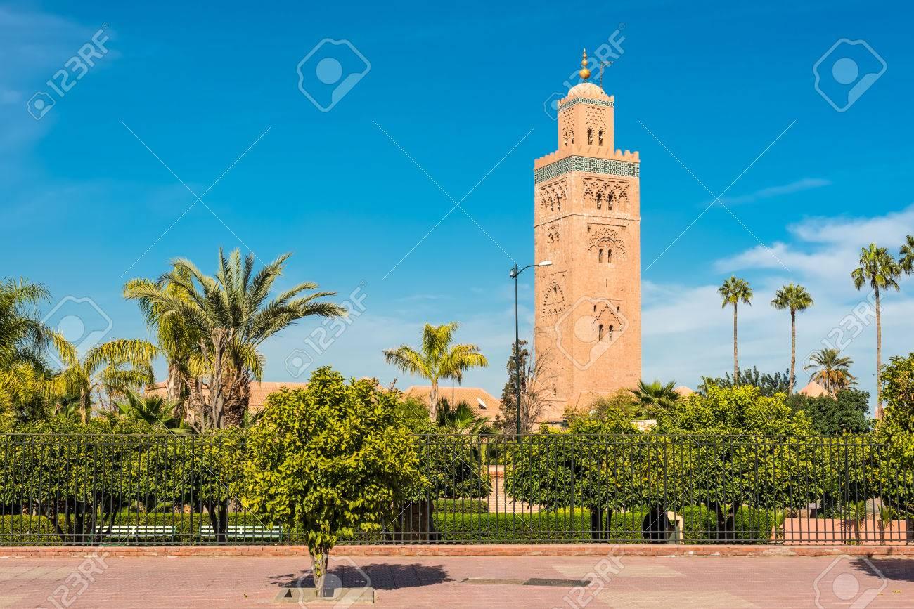 Les Jardins Flanquent La Mosquee Koutoubia Mosquee Kutubiyya La