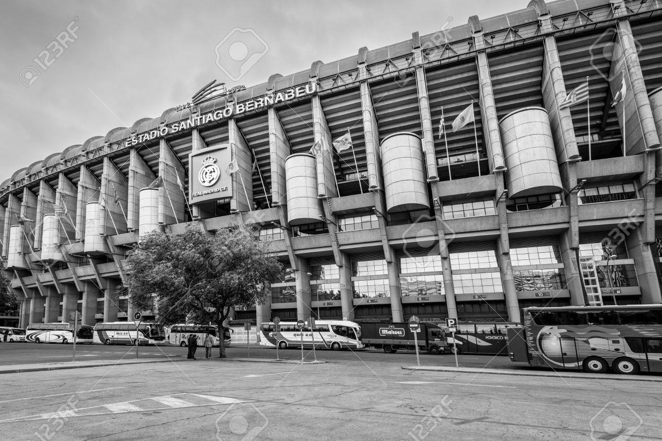 Black And White Madrid madrid, spain - may 22, 2014: facade of the santiago bernabeu..