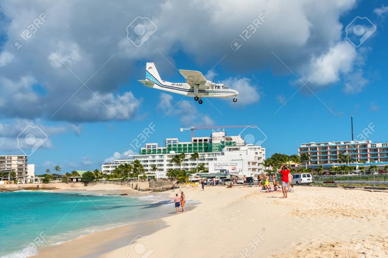 Simpson bay, Saint Maarten - December 17, 2018: The Britten-Norman