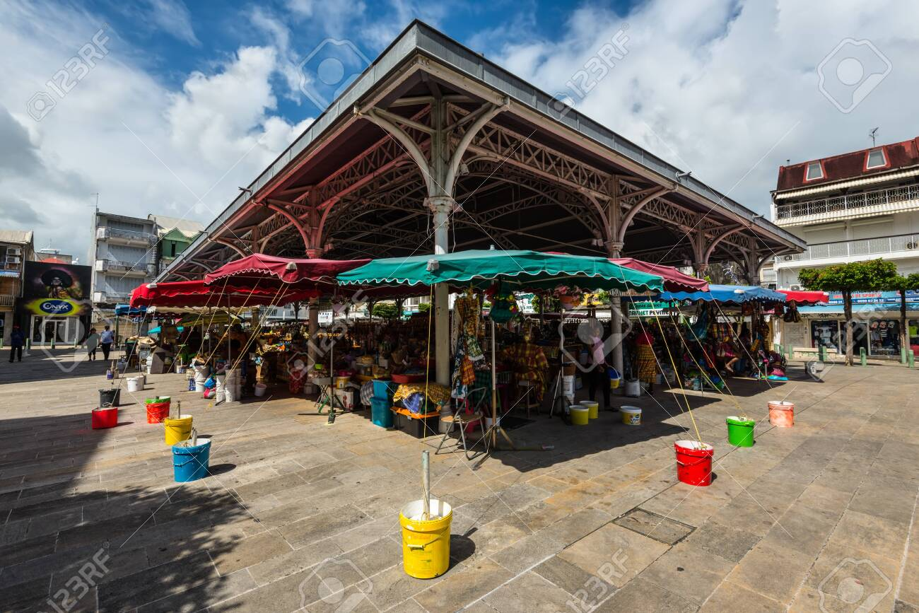 Pointe-a-Pitre, Guadeloupe - December 14, 2018: Central Market in Pointe-a-Pitre, in the French overseas department of Guadeloupe. Central market - also known as Spice Market. - 138844602