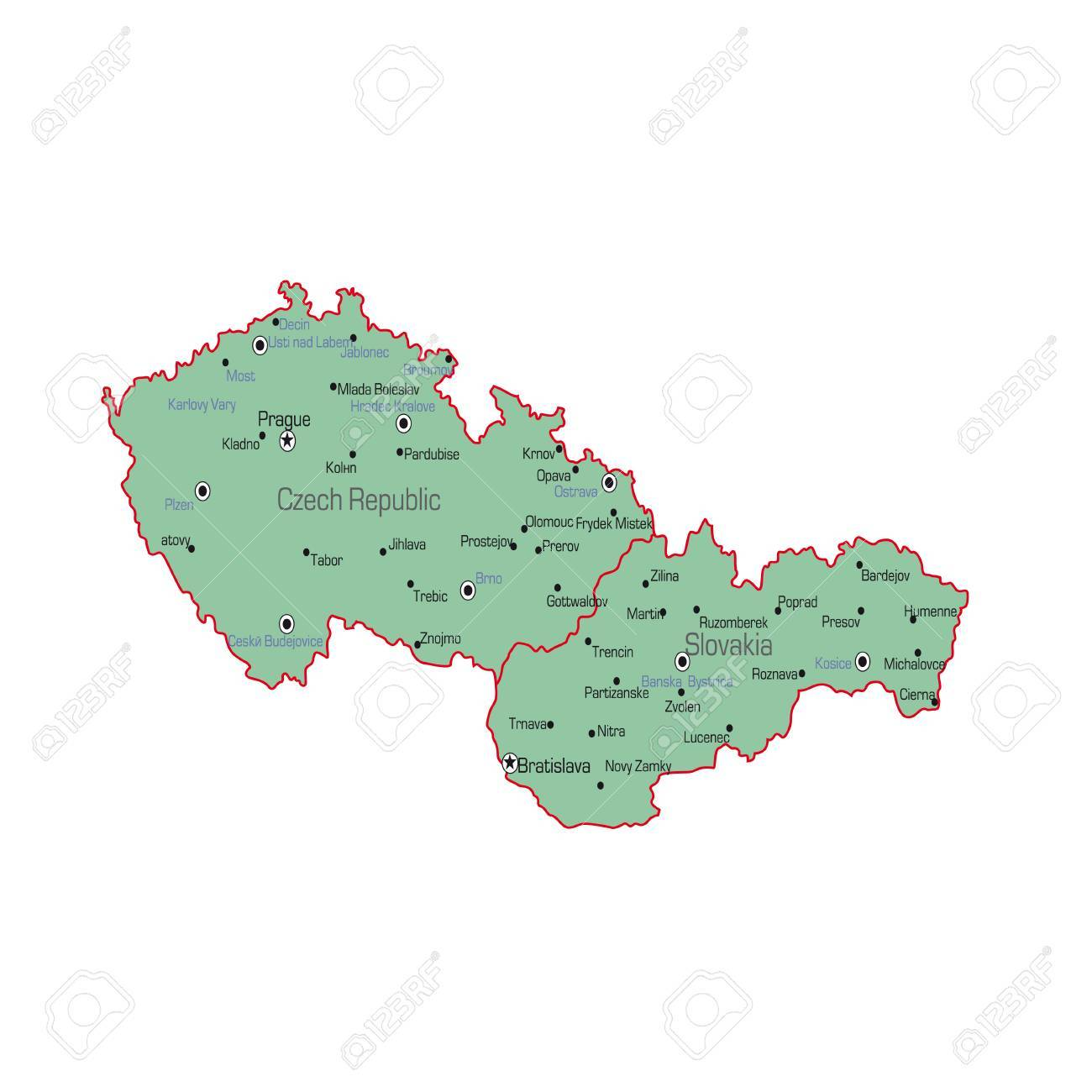 Czech Republic And Slovakia Map On A White Background. Vector ...