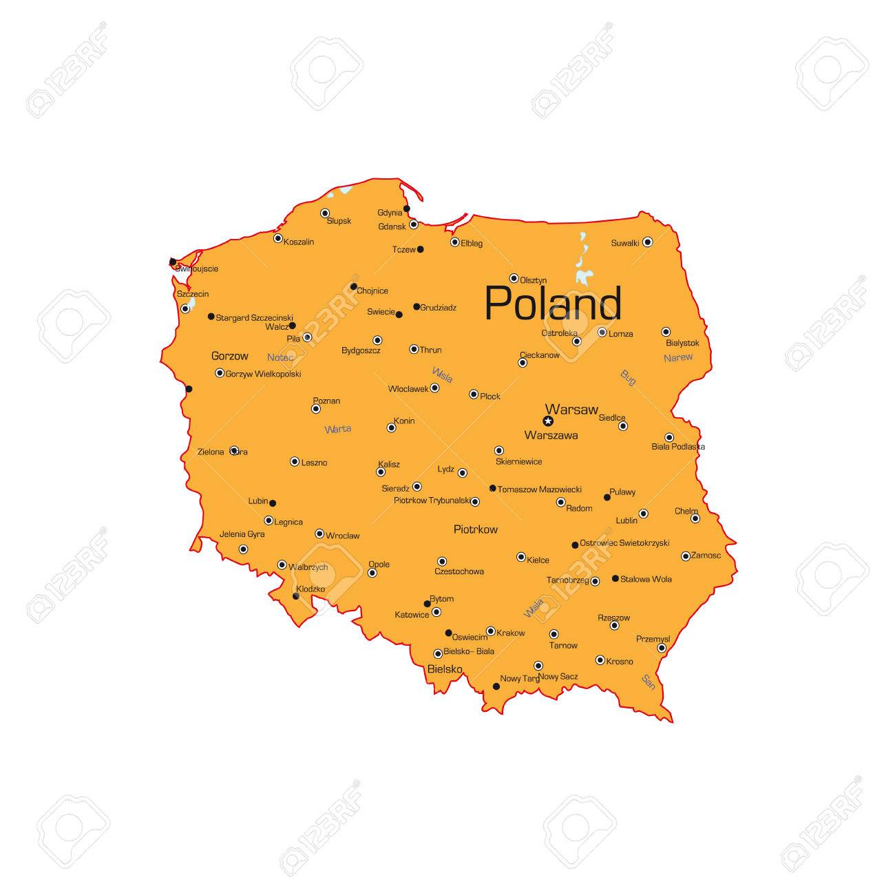 The Republic Of Poland Map On A White Background Vector - Poland map