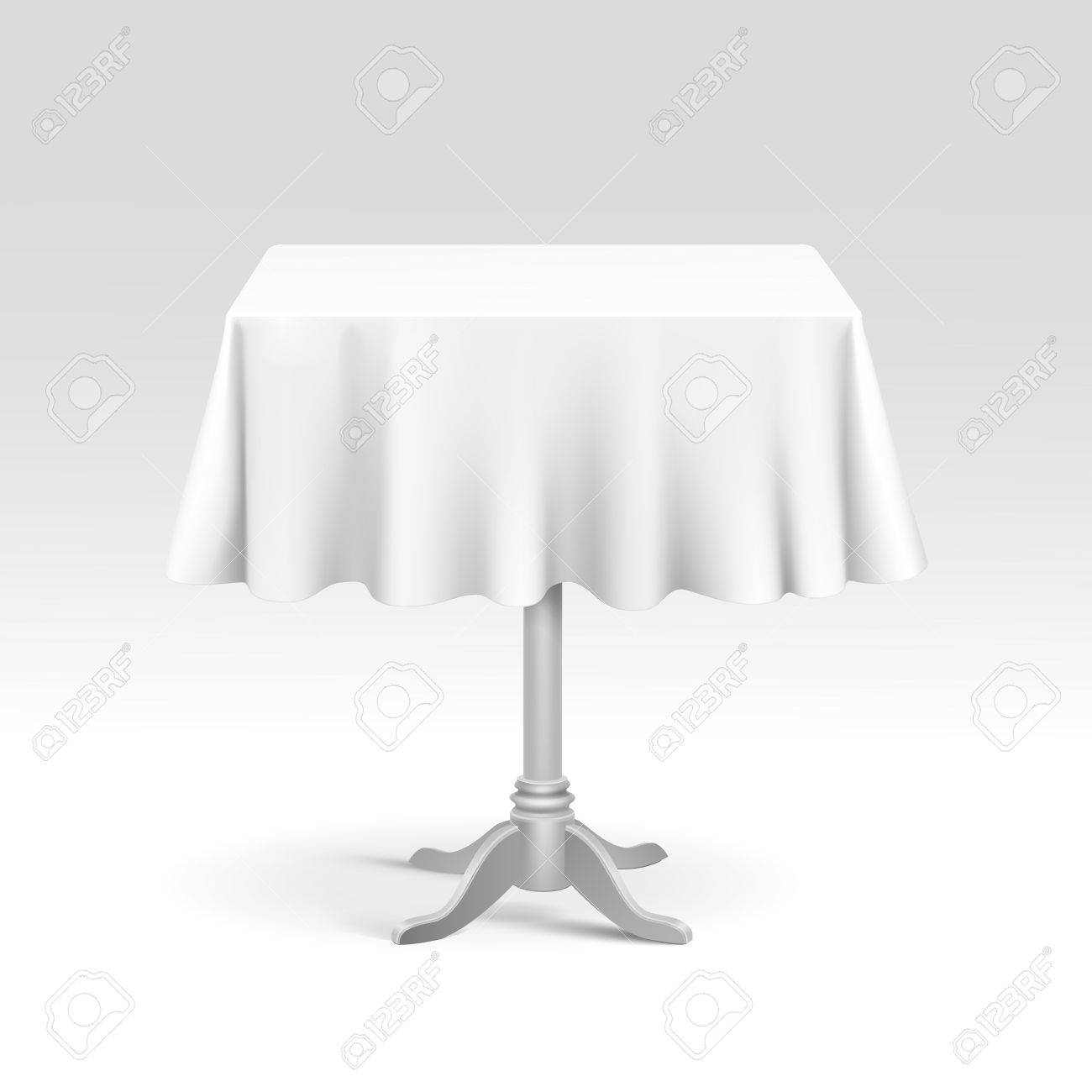 Vector Empty Square Table With Tablecloth Isolated On White Background  Stock Vector   26574644