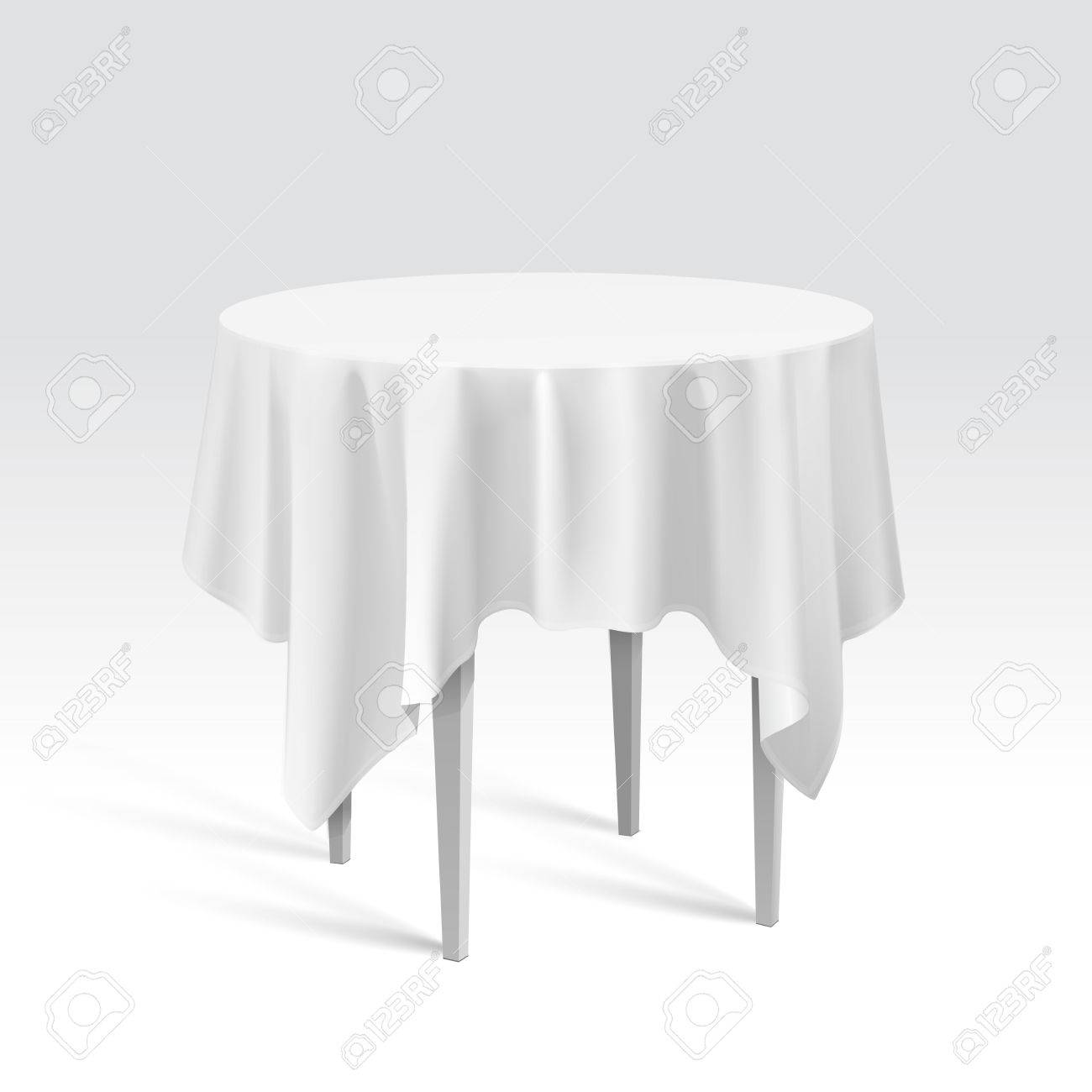 Round Table With Tablecloth.Vector Empty Round Table With Tablecloth Isolated On White Background