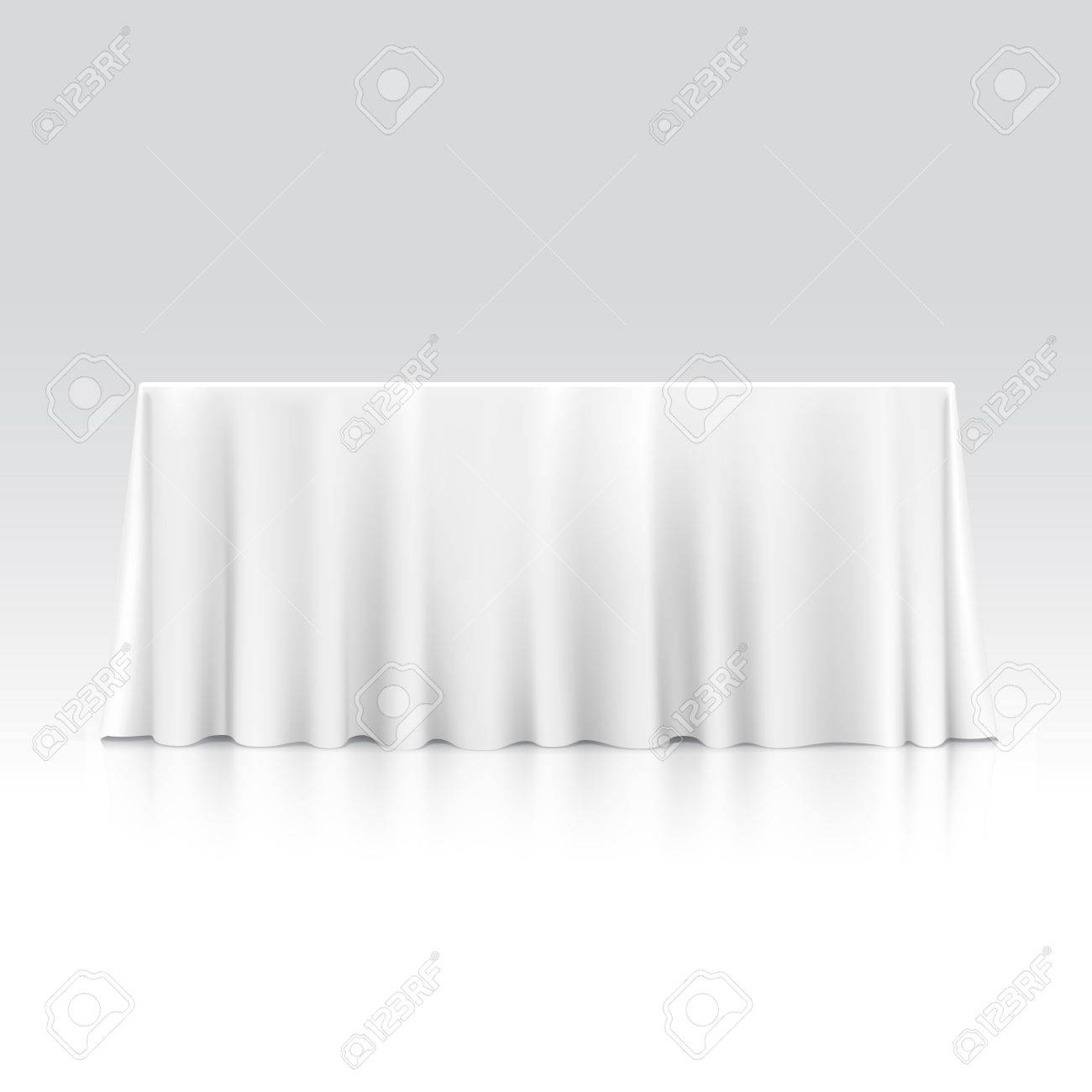 Gentil Vector   Vector Empty Rectangular Table With Tablecloth Isolated On White  Background