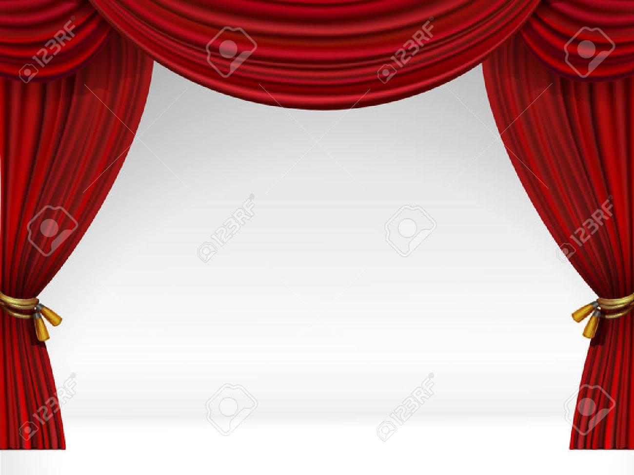 stockfoto vector white scne met gesoleerde rode gordijnen