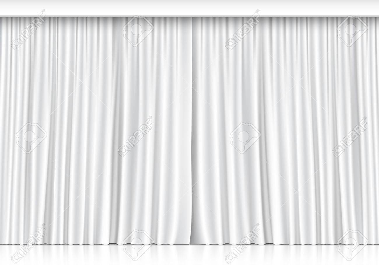 Vector White Curtains Isolated on White Background - 31050607