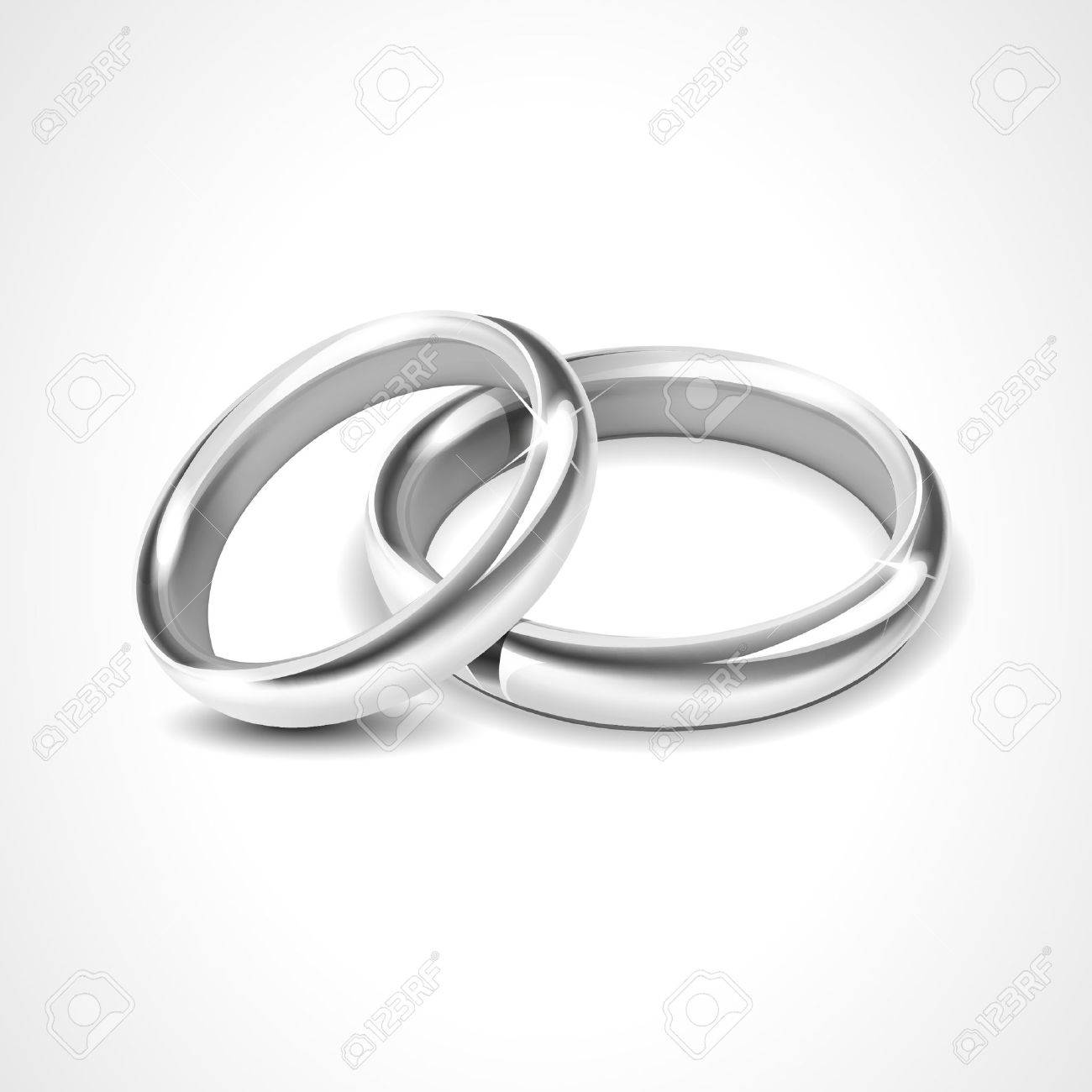 Silver Rings Isolated on White Background - 34372480