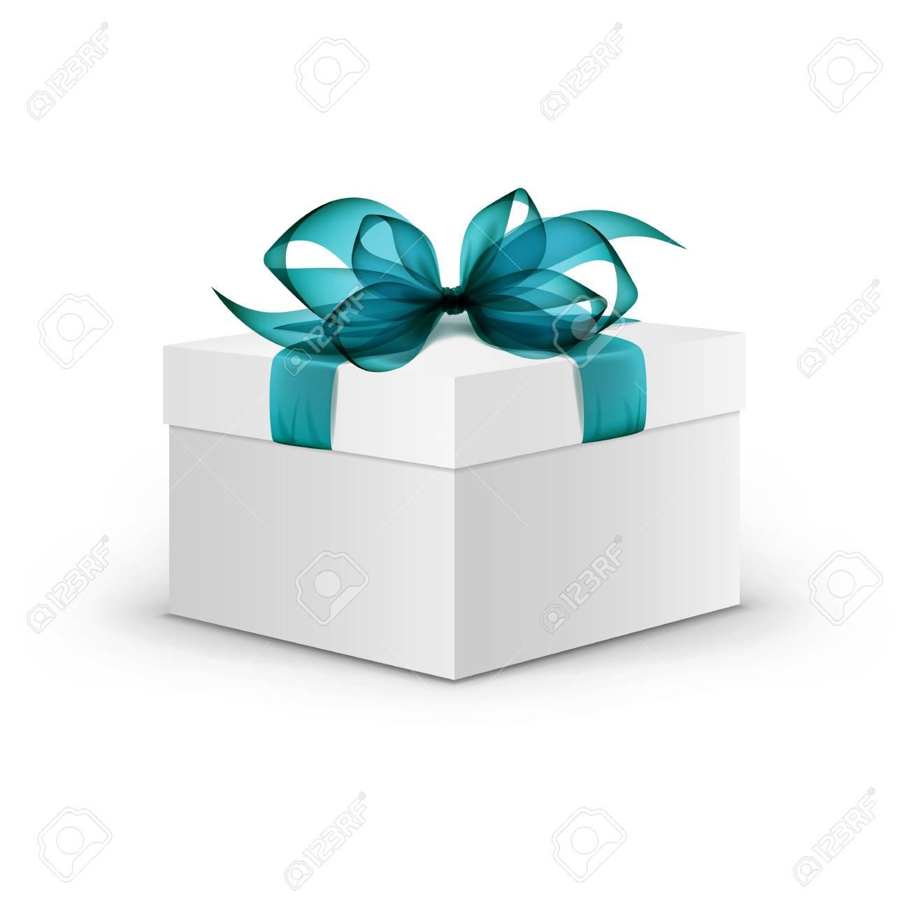 Gift Box Carr Blanc Avec Ruban Bleu Clair Clip Art Libres De Droits