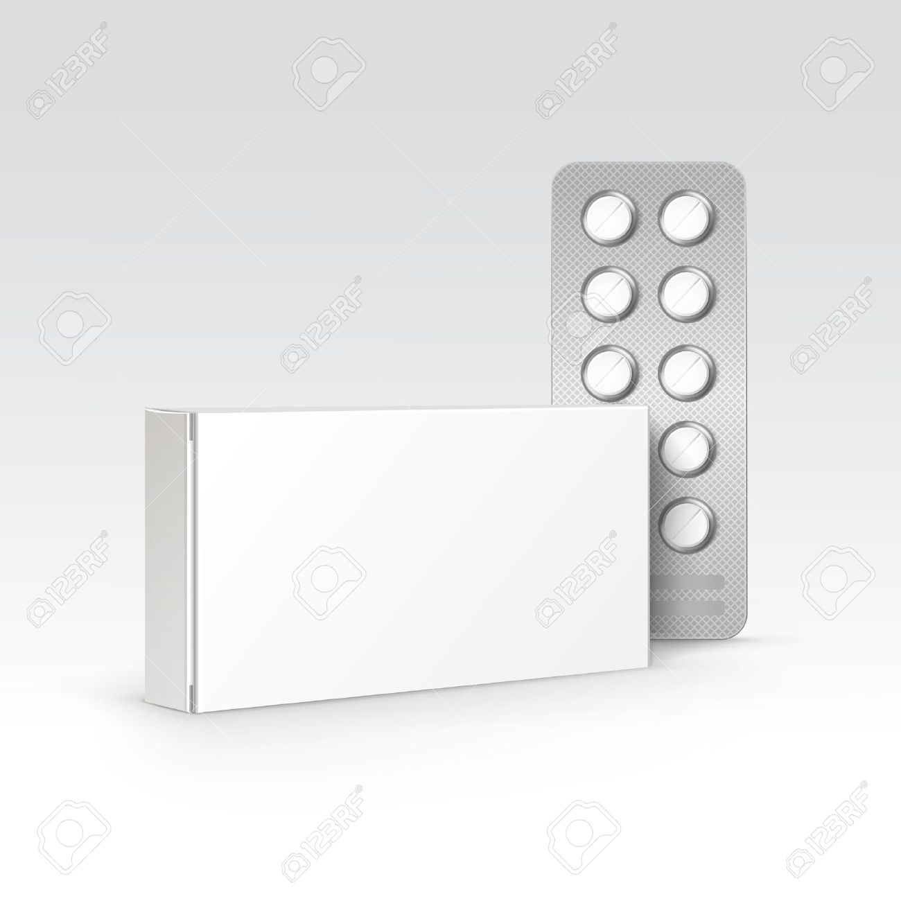 Vector Blank White Package Box for Blister of Pills Isolated on Background - 39647205
