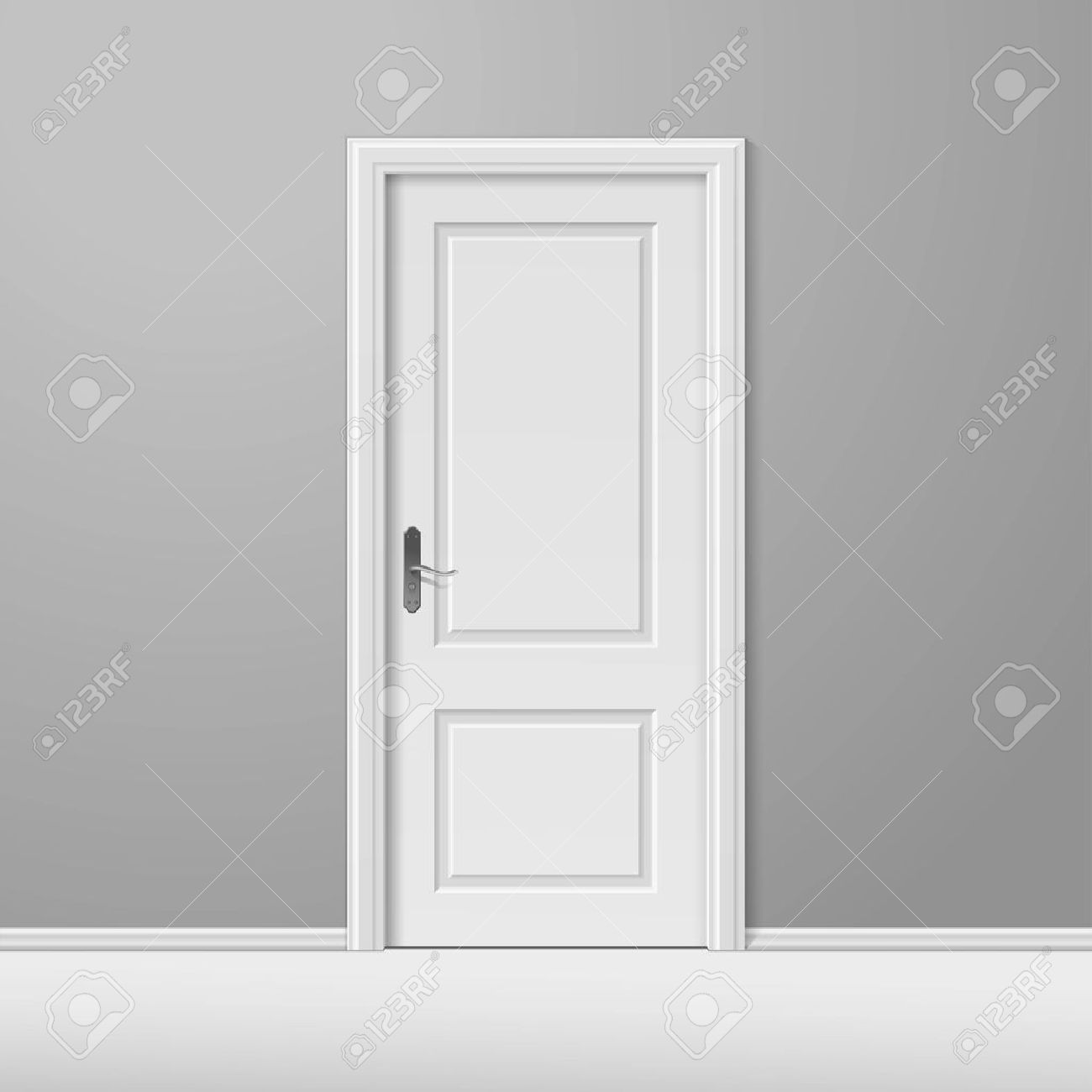 Vector - White Closed Door with Frame & White Closed Door With Frame Royalty Free Cliparts Vectors And ...