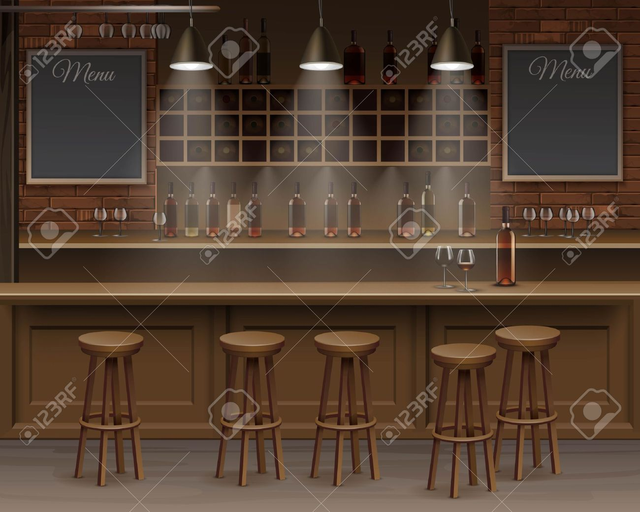 Captivating Illustration Of Bar Cafe Beer Cafeteria Counter Desk Interior Stock Vector    48489757
