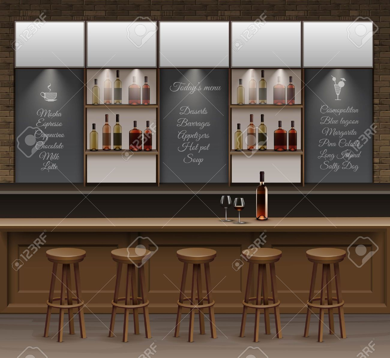 Interior wooden shelves free vector - Illustration Of Bar Cafe Beer Cafeteria Counter Desk Interior Stock Vector 48489758