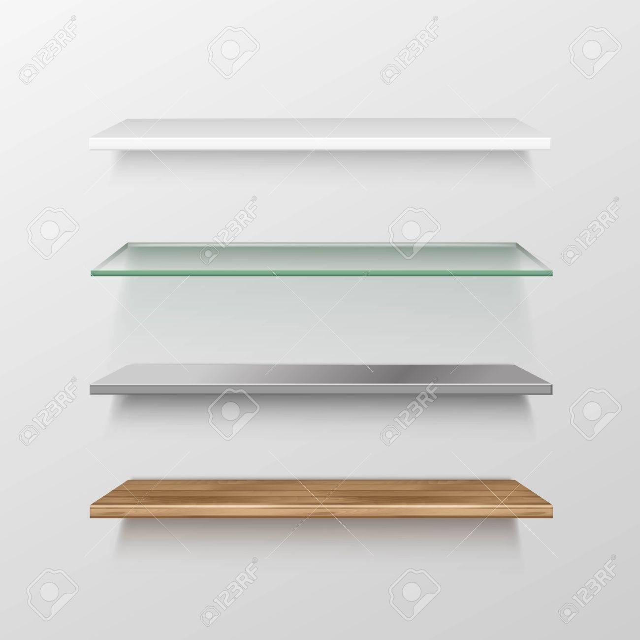 Set Of Empty Wood Glass Metal Plastic Shelf Shelves Royalty Free ...