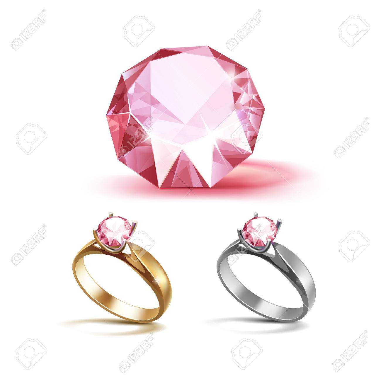 Set Of Gold And Siver Engagement Rings With Pink Shiny Clear ...