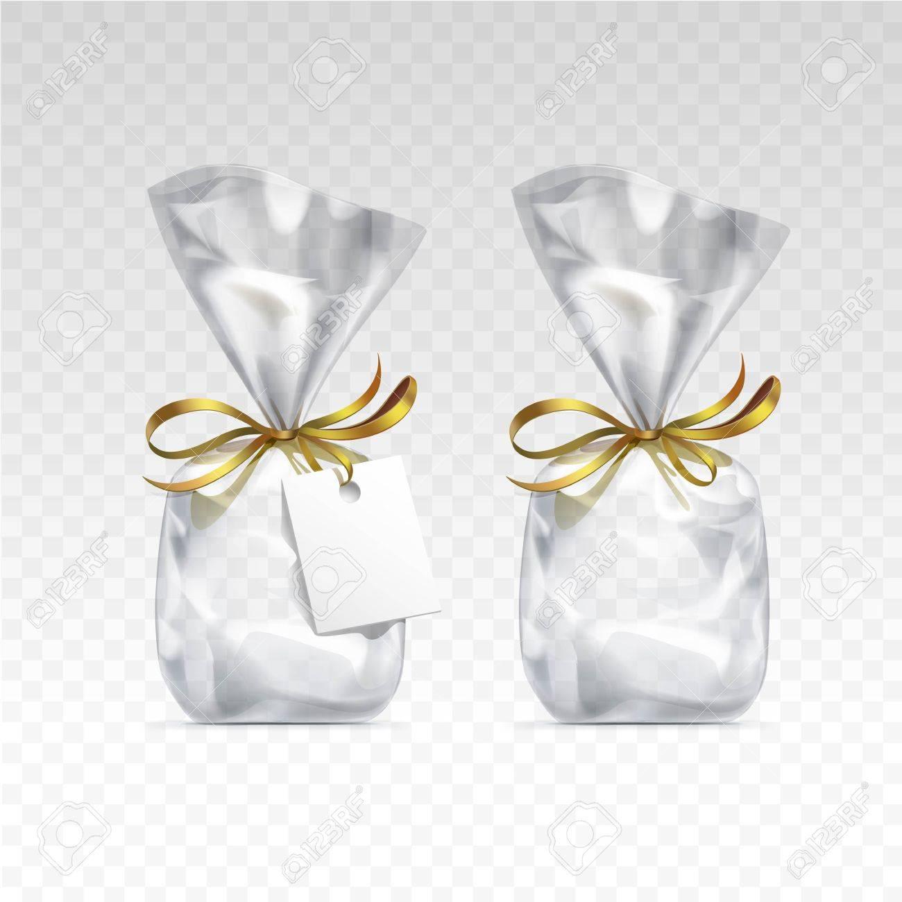 2edc9341f Foto de archivo - Vector vacío bolsas de plástico transparentes para el  diseño de regalo paquete con cintas de oro y etiqueta en blanco de cerca  aislado en ...