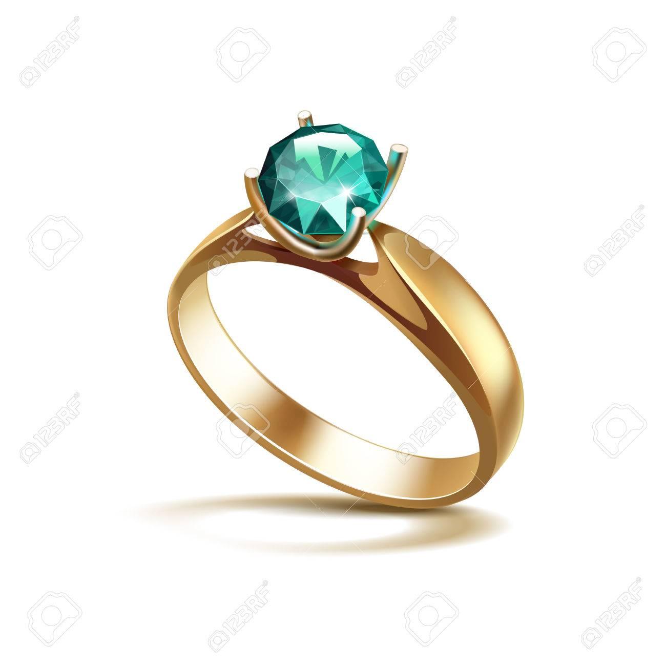 Vector Gold Verlobungsring Mit Smaragd Glanzender Freier Diamant