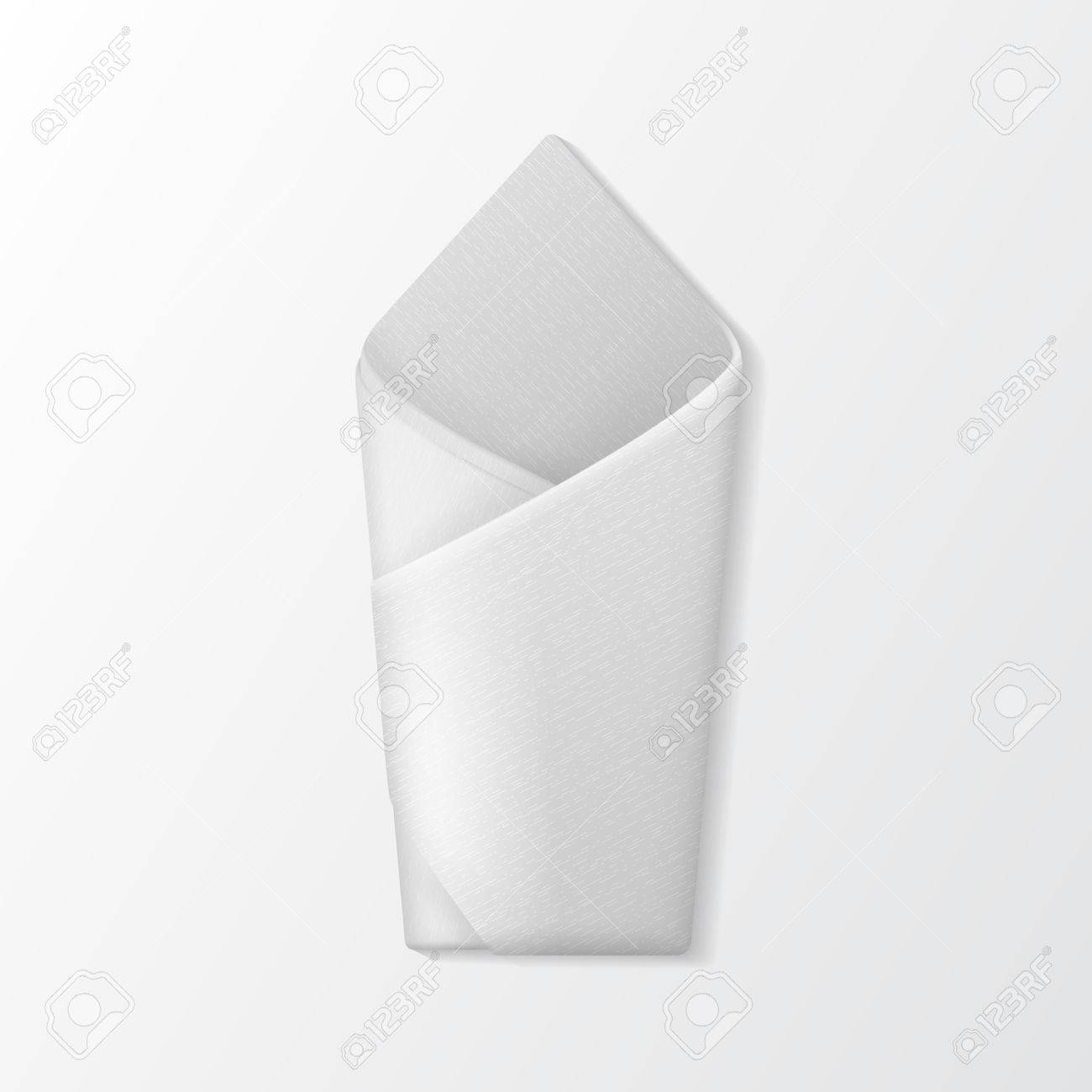 Vector White Folded Envelope Napkin Top View Isolated On White Royalty Free Cliparts Vectors And Stock Illustration Image 62091154