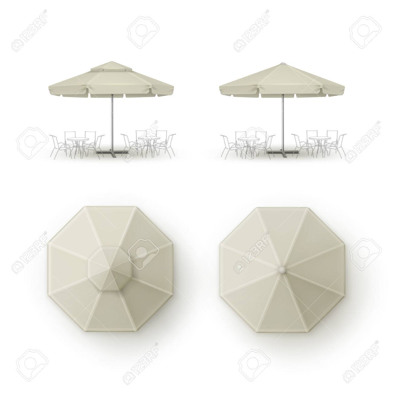 Vector Set Of White Beige Blank Patio Outdoor Market Beach Cafe Royalty Free Cliparts Vectors And Stock Illustration Image 63525220