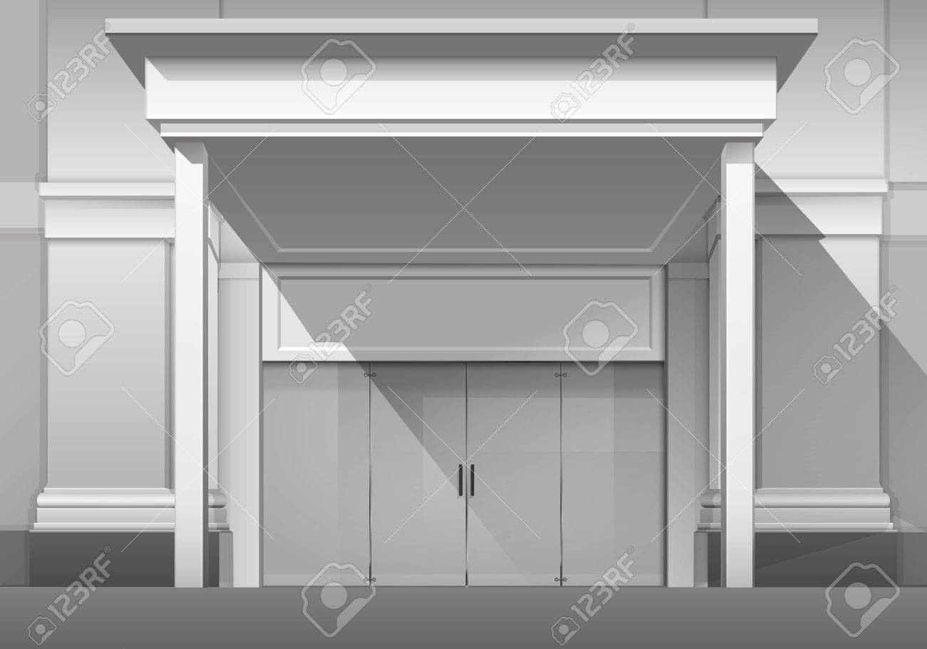Classic Shop Boutique Building Store Front With Closed Glass Front Door,  Columns, Roof Visor