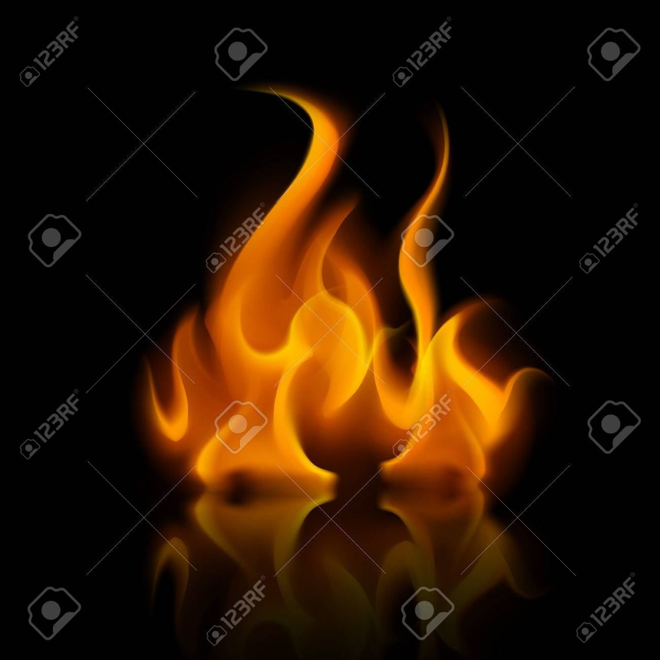 Vector Yellow Orange Fire Flame Bonfire Isolated on Background - 64185217