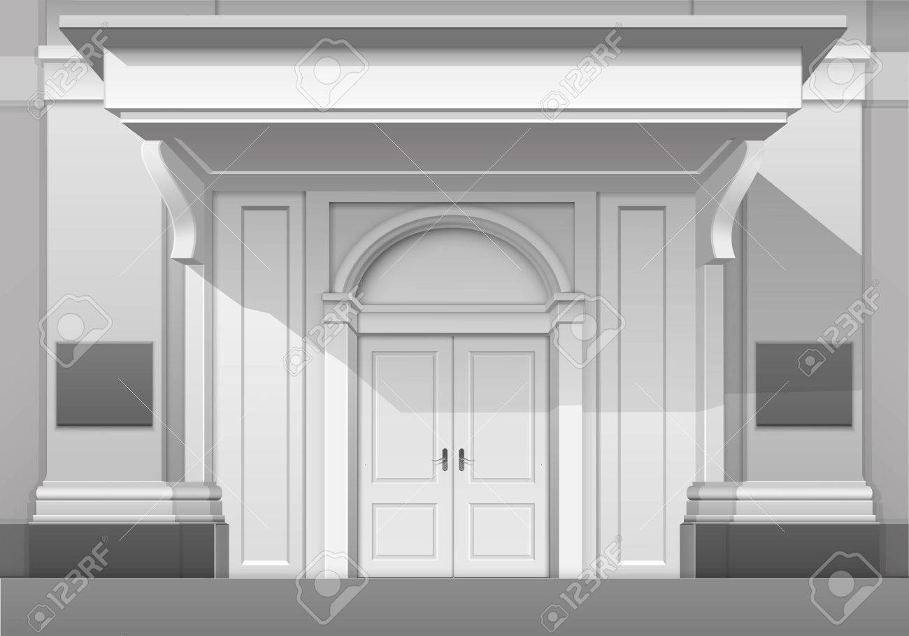 Vector   Vector Classic Shop Museum Boutique Building Store Front With  Closed Front Door, Columns, Roof Visor And Place For Name Isolated On White  ...