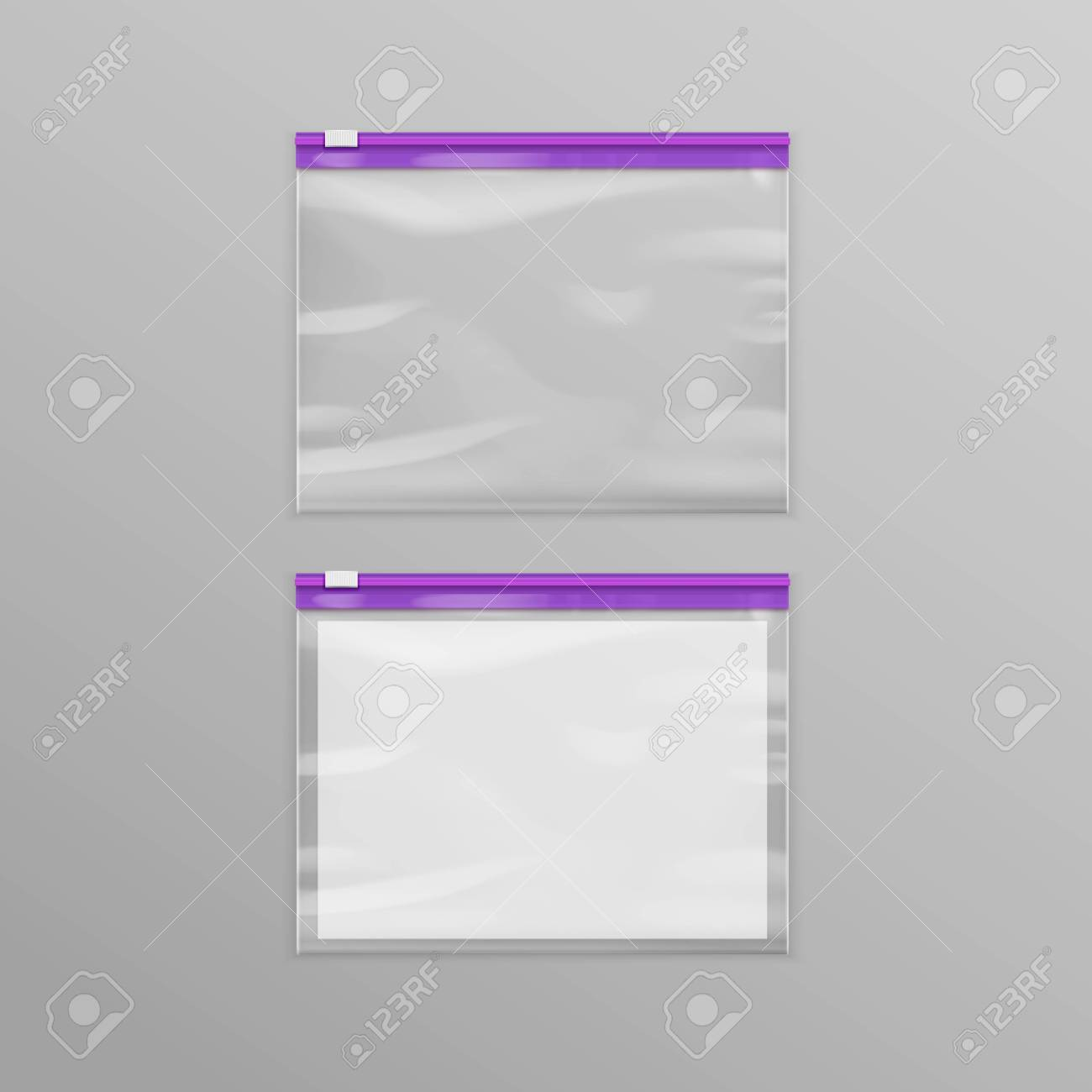 87ab8ac59b Vector - Vector Purple Sealed Empty Transparent Plastic Zipper Bags Close  up Isolated on Background