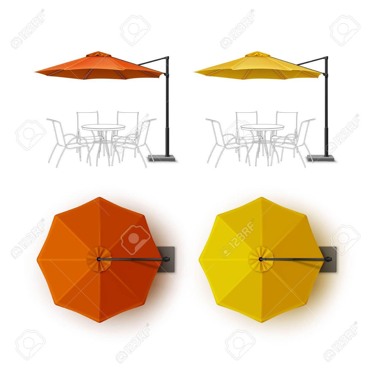 Vector Set Of Orange Yellow Blank Terrasse Außen Beach Cafe Bar Pub Lounge  Restaurant Rund Regenschirm