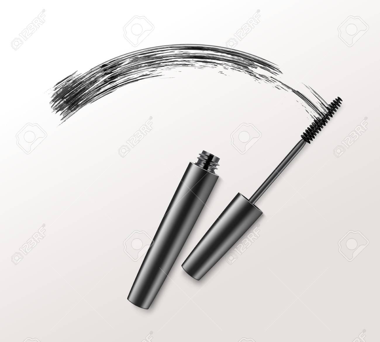 Black Mascara Brush Strockes on Background - 75283106