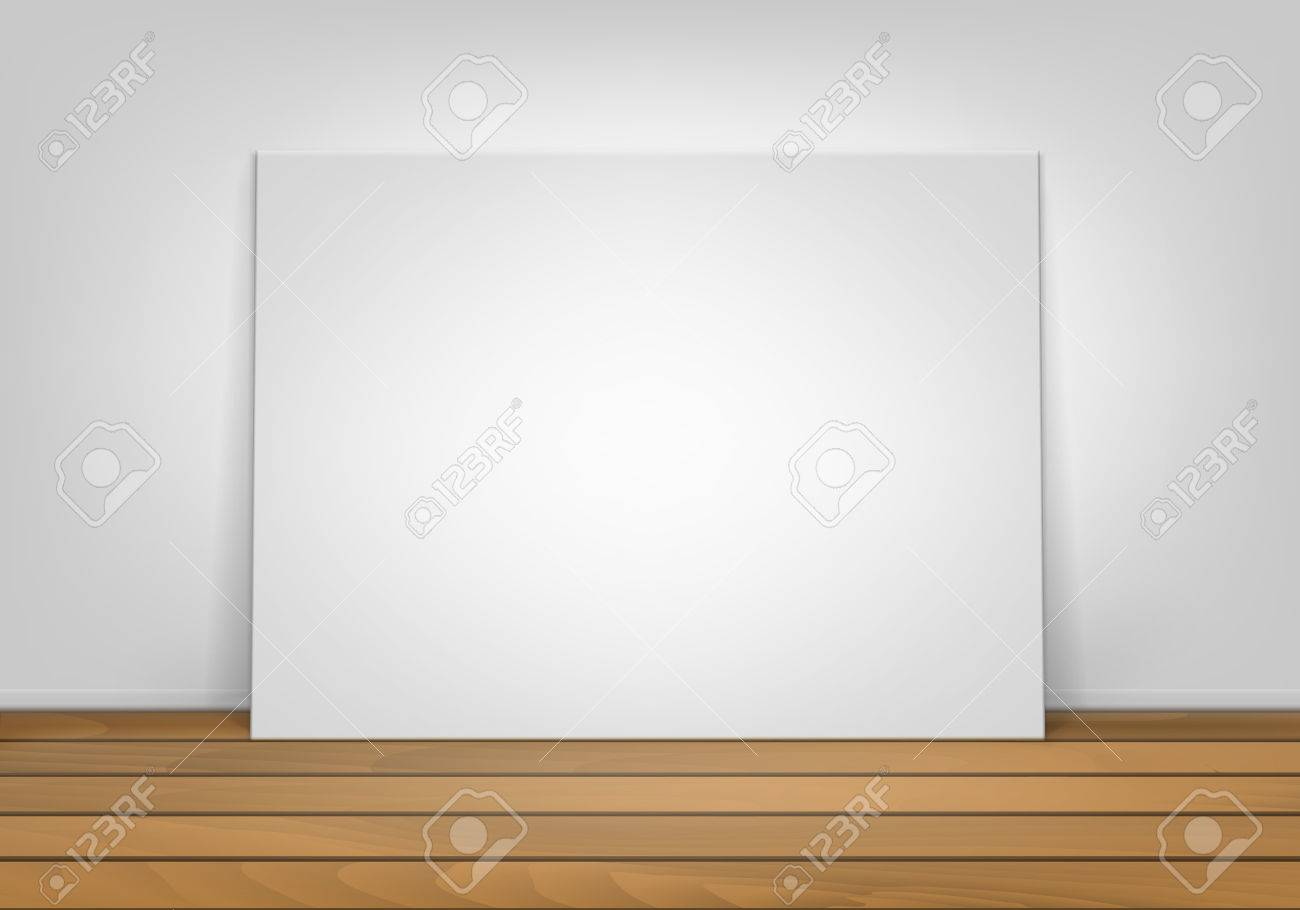 Empty Blank White Mock Up Poster Picture Frame Standing On Brown