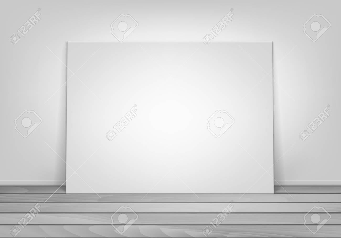 Empty Blank White Mock Up Poster Picture Frame Standing On Wooden