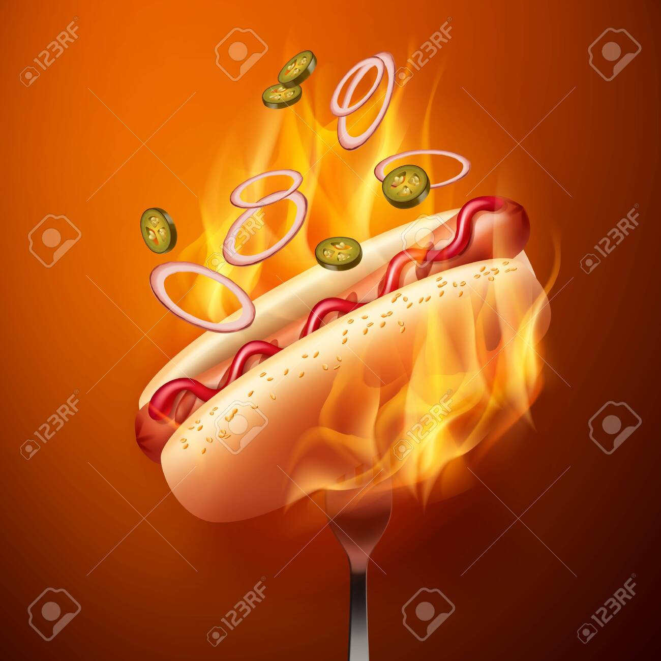 Vector illustration of hot dog with grilled sausage in bun with sesame and falling jalapenos and onion on fork in fire - 119060801